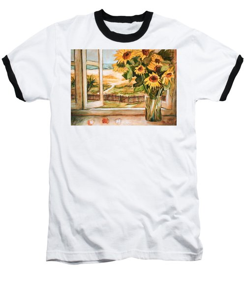 Baseball T-Shirt featuring the painting The Beach Sunflowers by Winsome Gunning