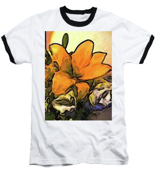 The Big Gold Flower And The White Roses Baseball T-Shirt