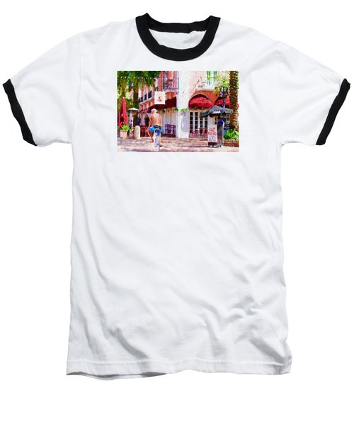 Baseball T-Shirt featuring the painting The Biker by Judy Kay