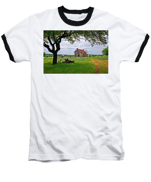 Baseball T-Shirt featuring the photograph The Bluebonnet House by Linda Unger