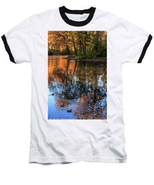 The Bright Colors Of Autumn, Quiet Evenings Are Reflected In The Waters Of The City Pond Baseball T-Shirt