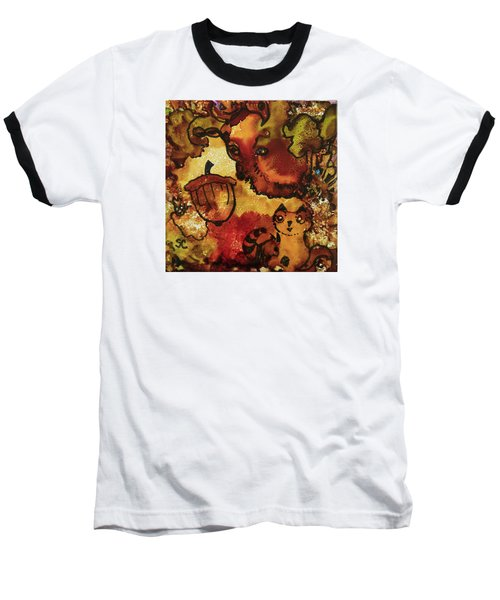 Baseball T-Shirt featuring the painting The Cat And The Acorn by Suzanne Canner