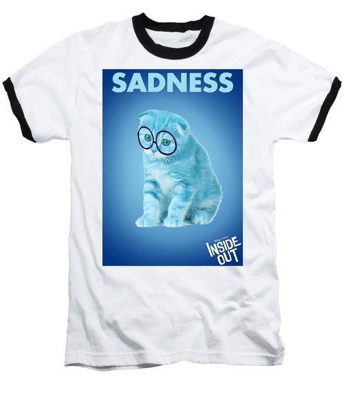 The Cat Sadness Baseball T-Shirt by Sheila Mcdonald