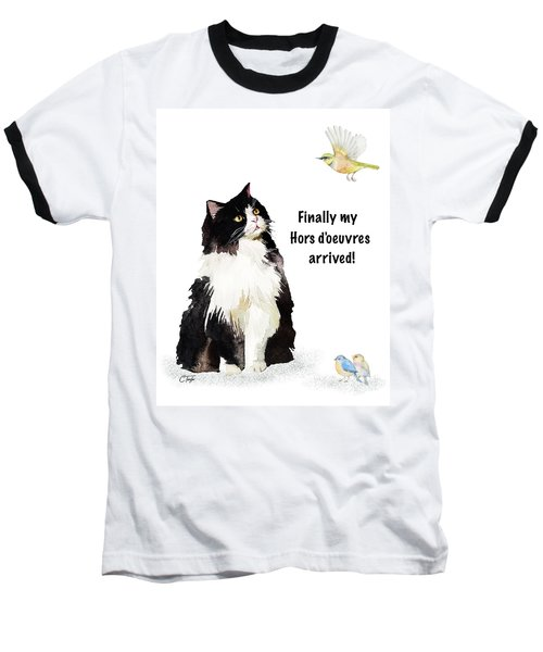 Baseball T-Shirt featuring the painting The Cat's Hors D'oeuvres by Colleen Taylor