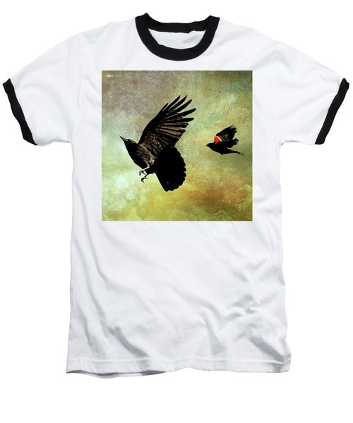 The Crow And The Blackbird Baseball T-Shirt by Peggy Collins