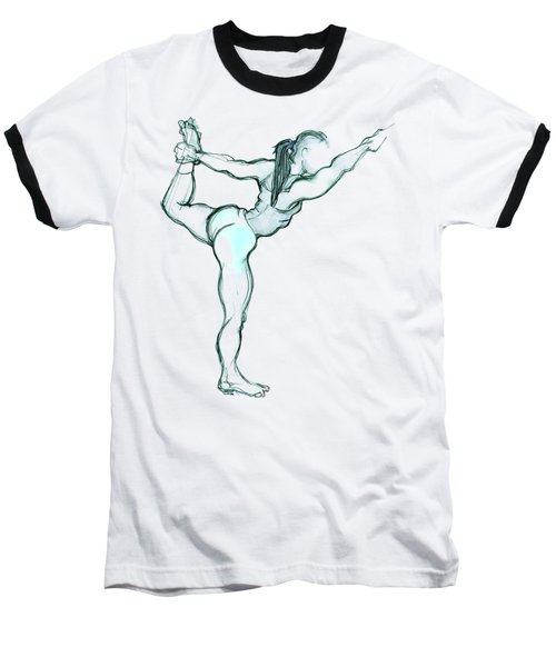 Baseball T-Shirt featuring the mixed media The Dancer - Yoga Pose by Carolyn Weltman