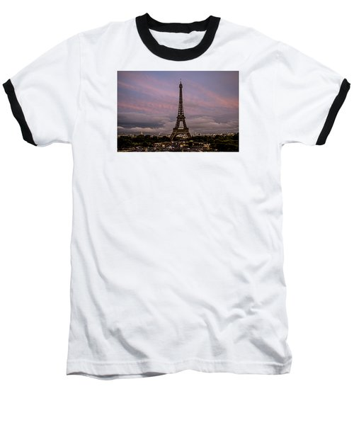 Baseball T-Shirt featuring the photograph The Eiffel Tower At Sunset by Jean Haynes