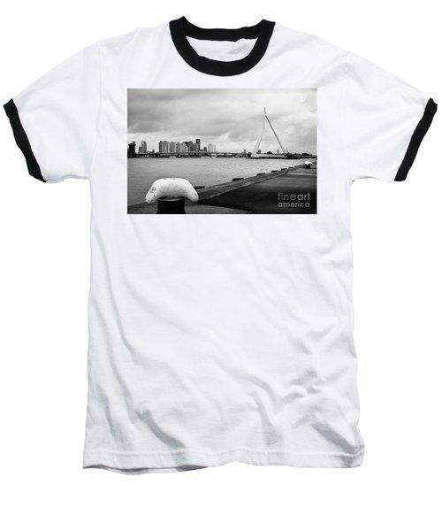 Baseball T-Shirt featuring the photograph The Erasmus Bridge In Rotterdam Bw by RicardMN Photography