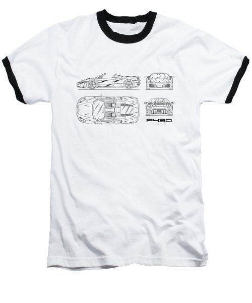 The F430 Blueprint - White Baseball T-Shirt by Mark Rogan