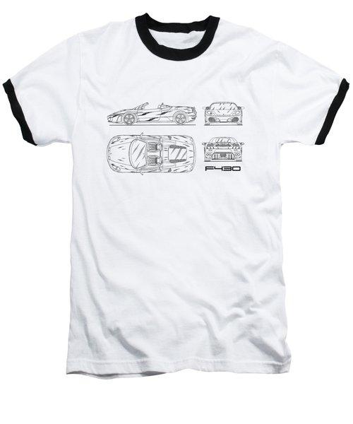The F430 Blueprint - White Baseball T-Shirt
