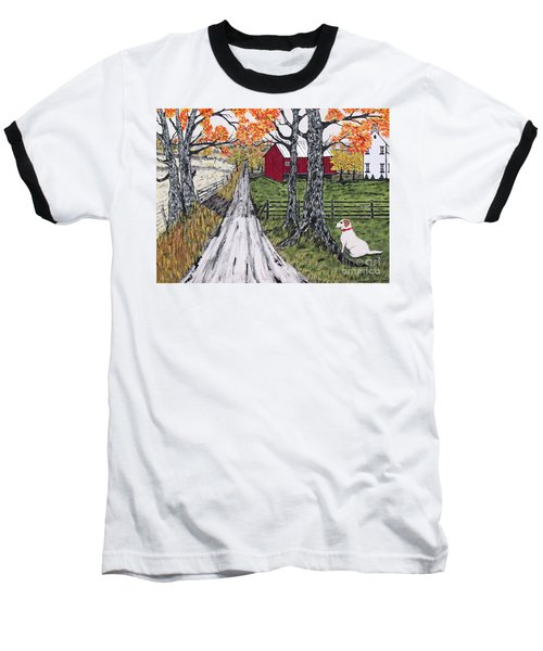 Sadie The Farm Dog Baseball T-Shirt by Jeffrey Koss