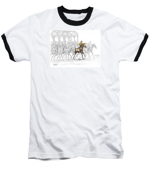 The Favorite - Thoroughbred Race Print Color Tinted Baseball T-Shirt by Kelli Swan
