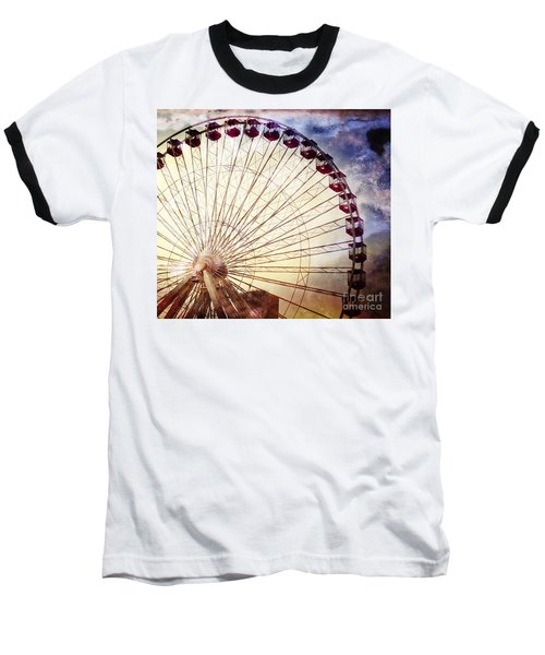 The Ferris Wheel At Navy Pier Baseball T-Shirt by Mary Machare