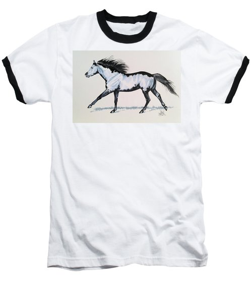 The Framed American Paint Horse Baseball T-Shirt by Cheryl Poland