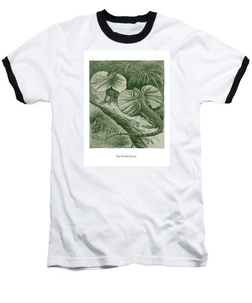 Baseball T-Shirt featuring the drawing The Frilled Lizard by David Davies