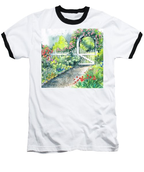 Baseball T-Shirt featuring the painting The Garden Path by Val Stokes