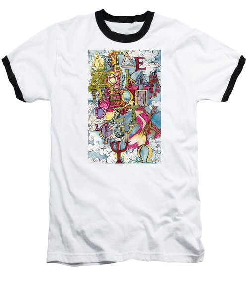 The Greek Alphabet Baseball T-Shirt by Claudia Cole Meek