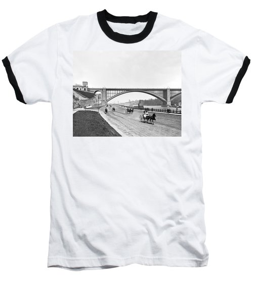 The Harlem River Speedway Baseball T-Shirt by William Henry jackson