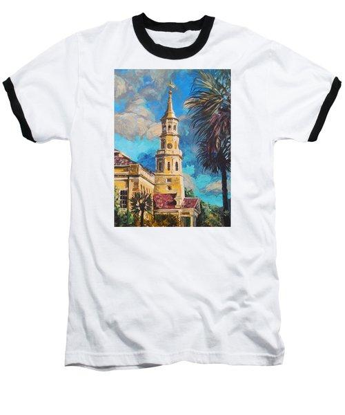 Baseball T-Shirt featuring the painting The Heart Of Charleston by Jennifer Hotai