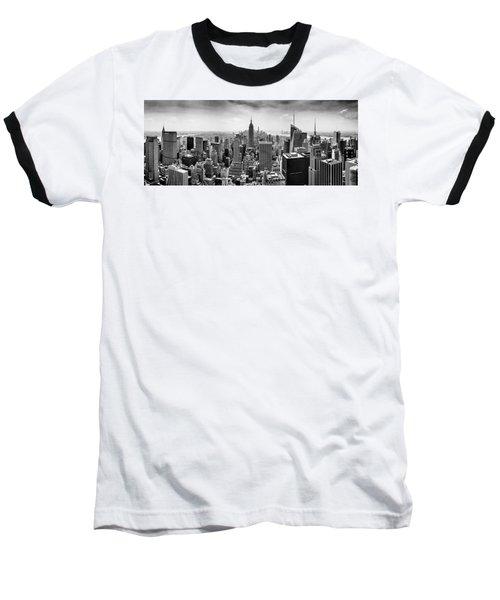 New York City Skyline Bw Baseball T-Shirt
