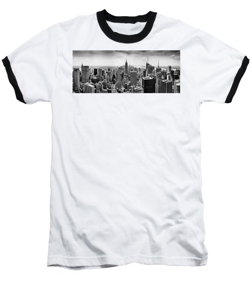New York City Skyline Bw Baseball T-Shirt