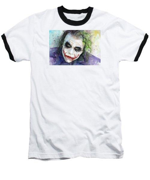 The Joker Watercolor Baseball T-Shirt by Olga Shvartsur