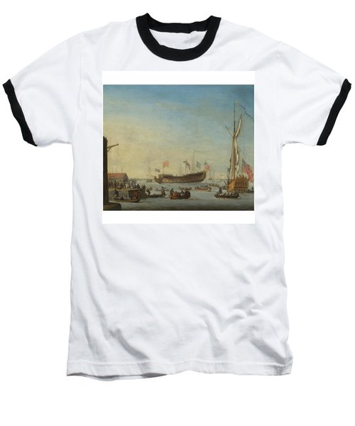 The Launch Of A Man Of War Baseball T-Shirt by Robert Woodcock