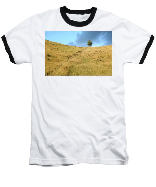 Baseball T-Shirt featuring the photograph The Lines The Tree And The Hill by Yoel Koskas
