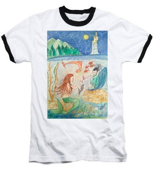 The Little Mermaid Baseball T-Shirt by Veronica Rickard