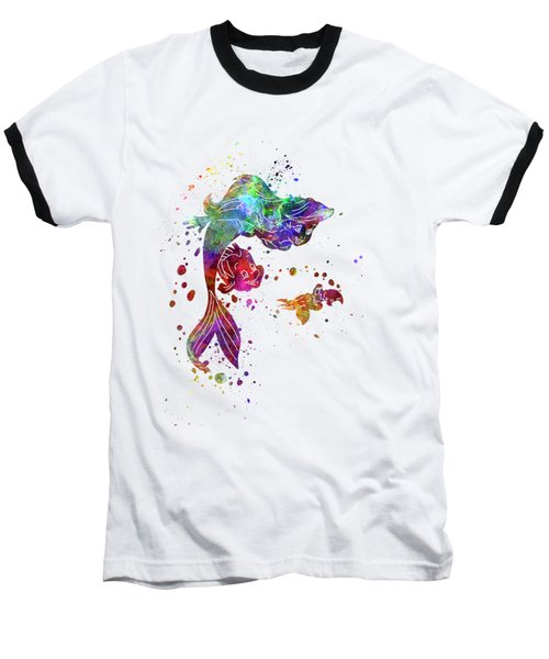 The Little Mermaid Watercolor Art Baseball T-Shirt
