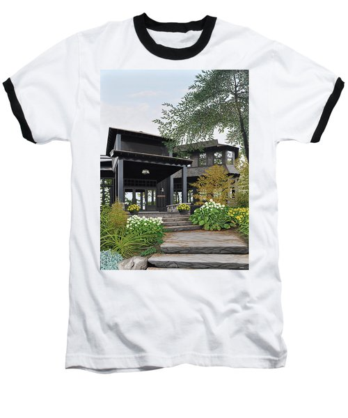 Baseball T-Shirt featuring the painting The Lodge At Fawn Island by Kenneth M Kirsch