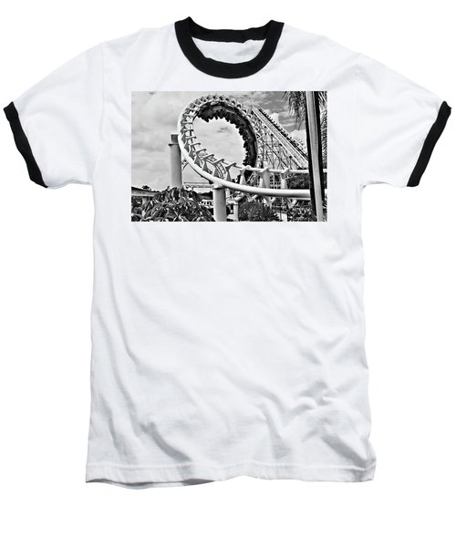 The Loop Black And White Baseball T-Shirt by Douglas Barnard