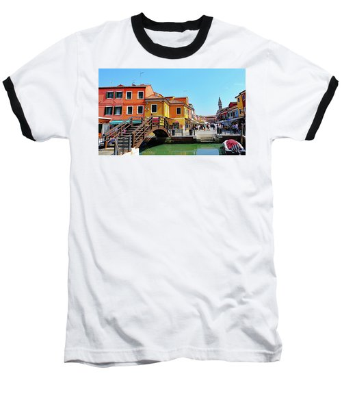 The Main Street On The Island Of Burano, Italy Baseball T-Shirt