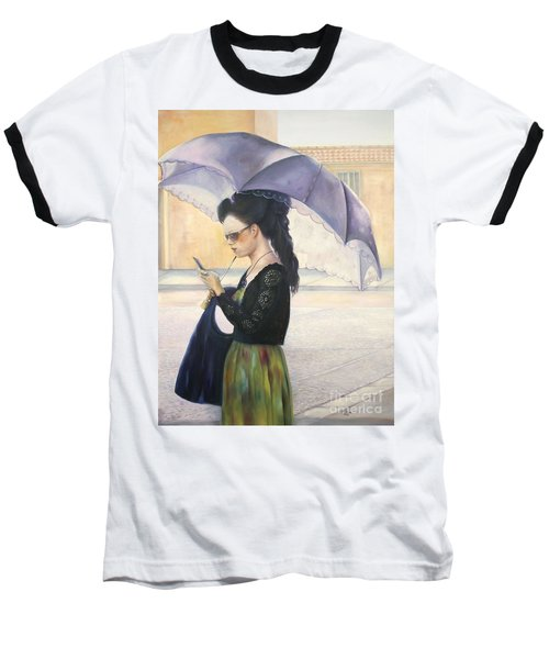 Baseball T-Shirt featuring the painting The Message by Marlene Book