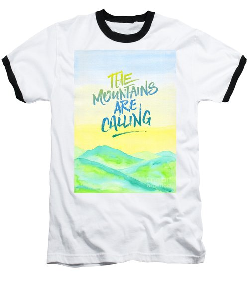 The Mountains Are Calling Yellow Blue Sky Watercolor Painting Baseball T-Shirt