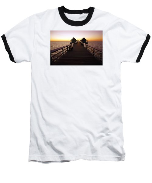 Baseball T-Shirt featuring the photograph The Naples Pier At Twilight - 01 by Robb Stan