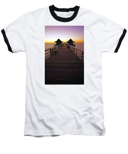 Baseball T-Shirt featuring the photograph The Naples Pier At Twilight by Robb Stan