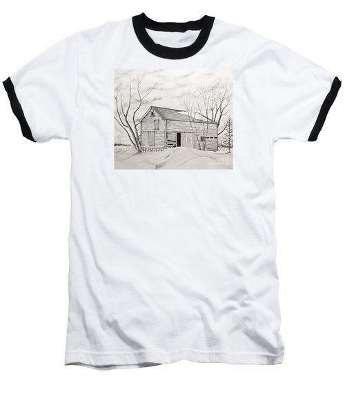 Baseball T-Shirt featuring the drawing The Old Barn Inwinter by John Stuart Webbstock