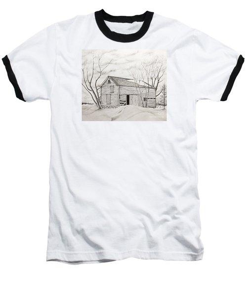 The Old Barn Inwinter Baseball T-Shirt by John Stuart Webbstock