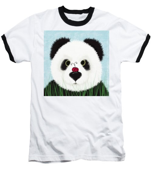 The Panda And His Visitor  Baseball T-Shirt by Michelle Brenmark