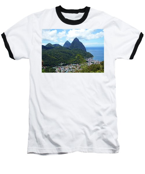 Baseball T-Shirt featuring the photograph The Pitons, St. Lucia by Kurt Van Wagner