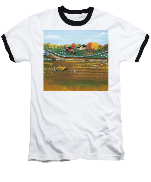 Baseball T-Shirt featuring the painting The Pumpkin Patch by Virginia Coyle