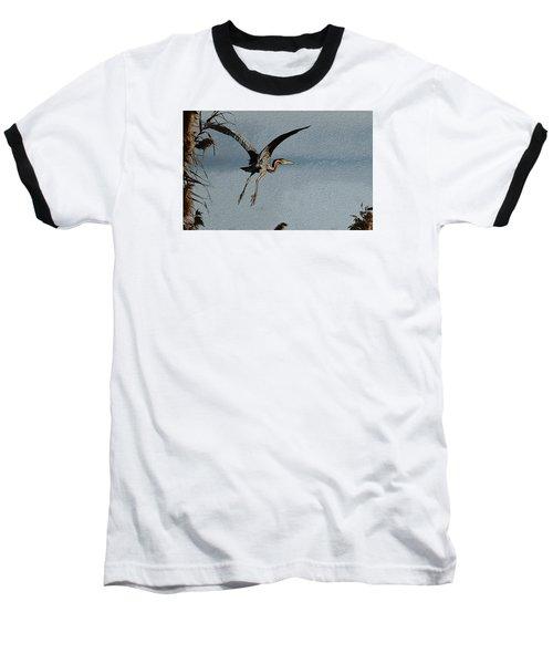 The Purple Heron Baseball T-Shirt by Manjot Singh Sachdeva