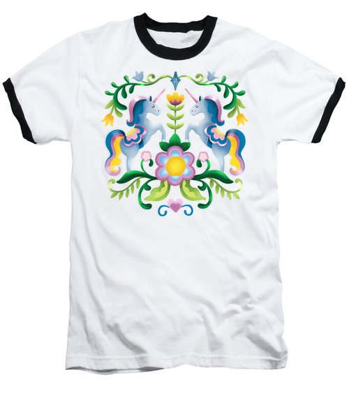 The Royal Society Of Cute Unicorns Light Background Baseball T-Shirt