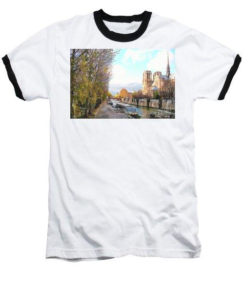 The Seine And Quay Beside Notre Dame, Autumn Baseball T-Shirt by Felipe Adan Lerma