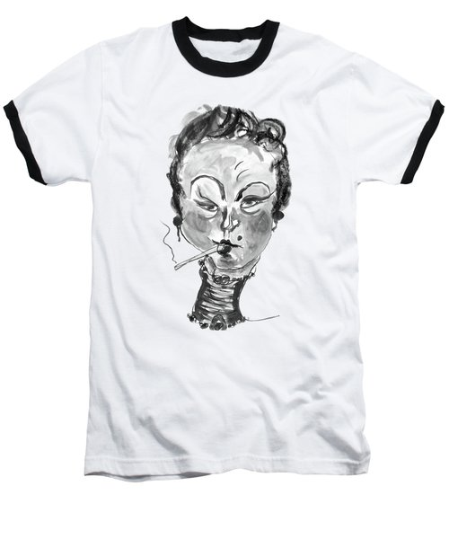 The Smoker - Black And White Baseball T-Shirt by Marian Voicu