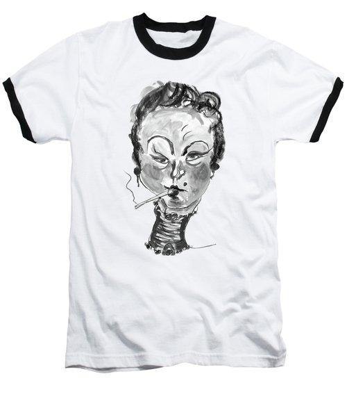 The Smoker - Black And White Baseball T-Shirt