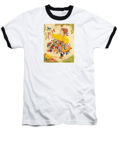 Baseball T-Shirt featuring the drawing The Sock Lady by Dee Davis