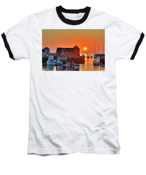 The Sun Rising By Motif Number 1 In Rockport Ma Bearskin Neck Baseball T-Shirt