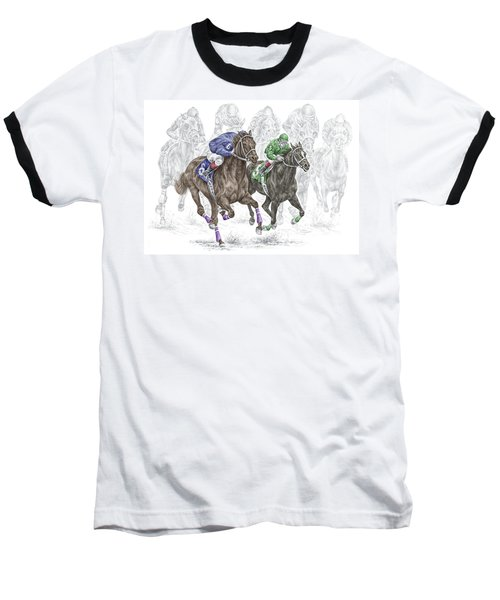 The Thunder Of Hooves - Horse Racing Print Color Baseball T-Shirt by Kelli Swan